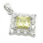 Ladies .925 Italian Sterling Silver fancy pendant with yellow stone Length - 26mm Width - 19mm 2