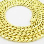 """Mens 10k Yellow gold Yellow gold miami cuban hollow link chain 24"""" 7.5MM rjmch8 2"""