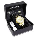 Phantom Yellow Gold Plated Genuine Diamond Watch for Men by Luxurman 0.12ct 4