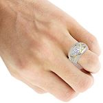 14K Gold Unique Mens Diamond Ring Wedding Band 1-4