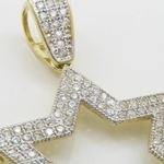Mens 10k Yellow gold Outer star of david gold cz pendant GCHA34 2