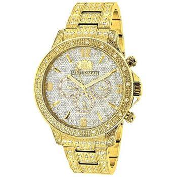 LUXURMAN Iced Out Mens Diamond Liberty Watch 1.25Ct Yellow Gold Plated b50b238f7f
