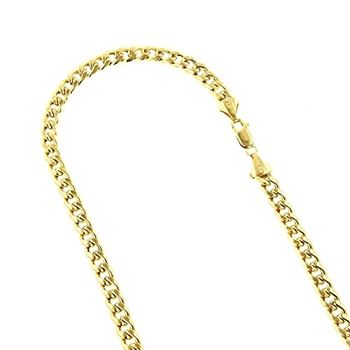Hollow 10k Gold Cuban Link Miami Chain For Men 9mm Necklace