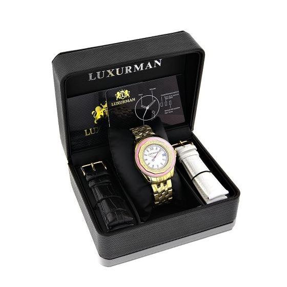 Luxurman Womens Geniune Diamond Watch 0. 90698 4