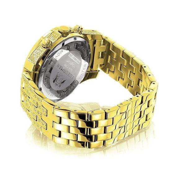 World Map Mens Diamond Watch 1.25Ct Yellow Gold-2