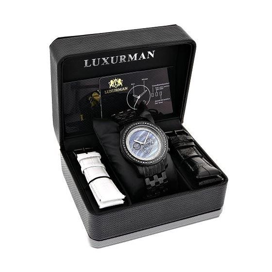 Luxurman Phantom Mens Black Genuine Diamond Watch 2.25ct Blue MOP Chronograph 4