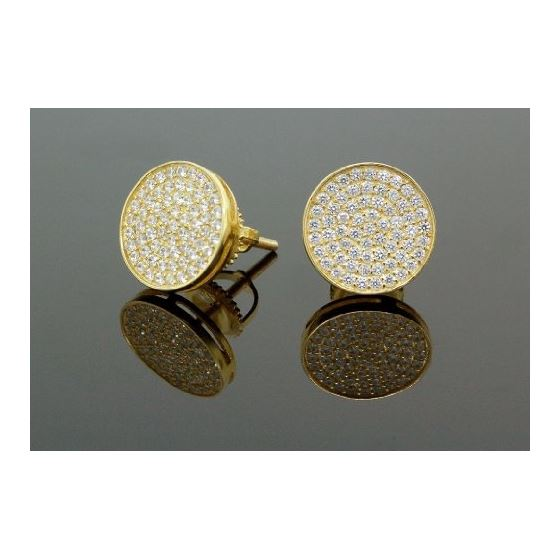 .925 Sterling Silver Yellow Circle White Crystal Micro Pave Unisex Mens Stud Earrings 2