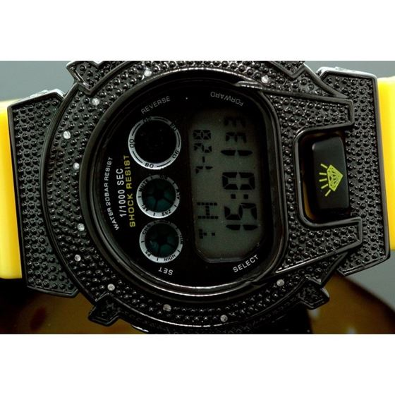 Ice Plus Mens Diamond Shock Style Watch Black Case Yellow Band 2