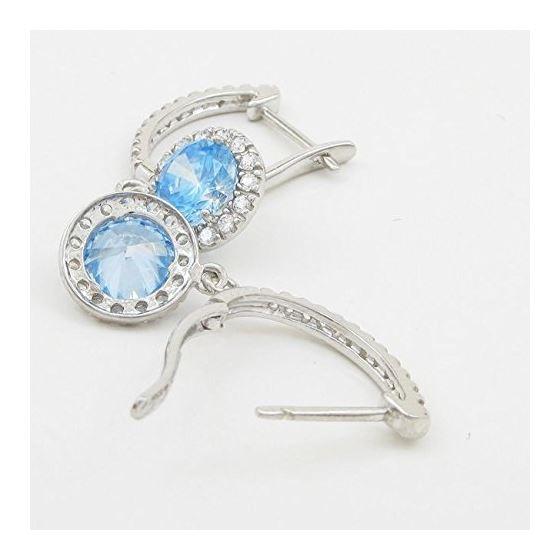 Womens Light blue cubic zirconia drop cz chandelier earring Silver15 4