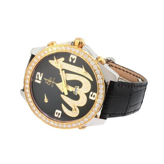 Jacob Co. 18K Yellow Gold Black Band 5Time Zone-2
