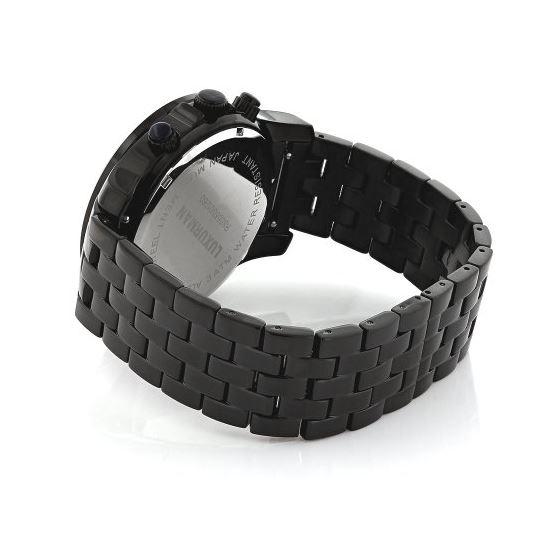 Luxurman Phantom Mens Black Genuine Diamond Watch 2.25ct Blue MOP Chronograph 2