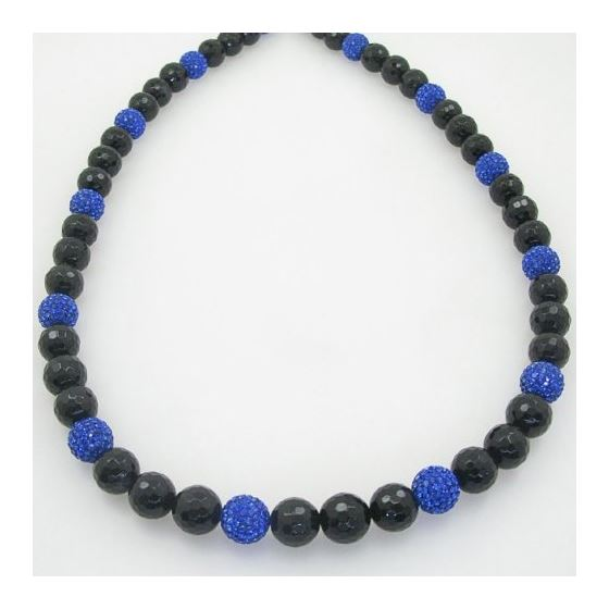 Mens beaded chain crystal gemstone bracelet ball pave necklace black and blue macrame rosary 2