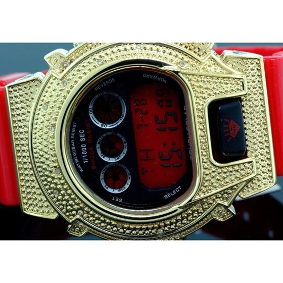 Ice Plus Mens Diamond Shock Style Watch Yellow Case Red Band 2