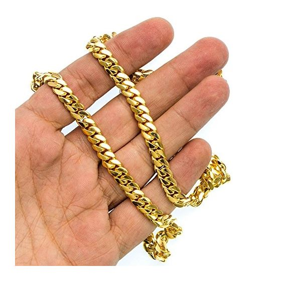 10K Yellow Gold HOLLOW Miami Cuban Link Chain 8MM Wide 2