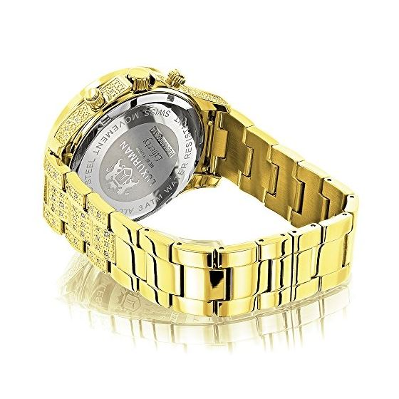 Iced Out Mens Diamond Watch 3Ct Yellow Gold Plat-2