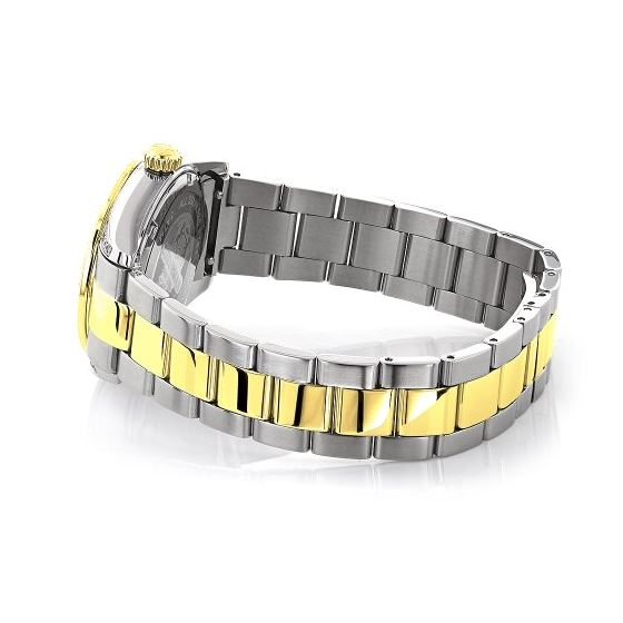 Womens White Yellow Gold Plated Diamond Watch Two Tone Luxurman Tribeca 1.5ct 2