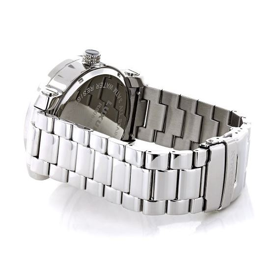 Mens Diamond Watch 0.12 ct Iced Out Luxurman Paved in White Sparkling Stones 2