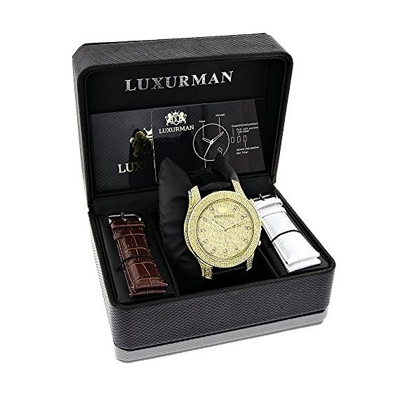 Mens Yellow Gold Plated Watch With Diamonds 0.5C-4