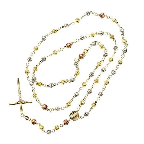 10K 3 TONE Gold HOLLOW ROSARY Chain - 30 Inches Long 5.02MM Wide 2