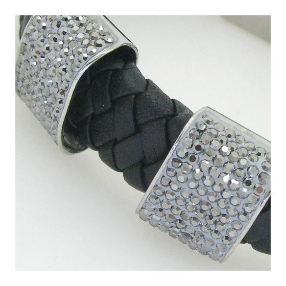 Womens genuine leather braided cuff crystal bracelet bangle fashion jewelry swag 2