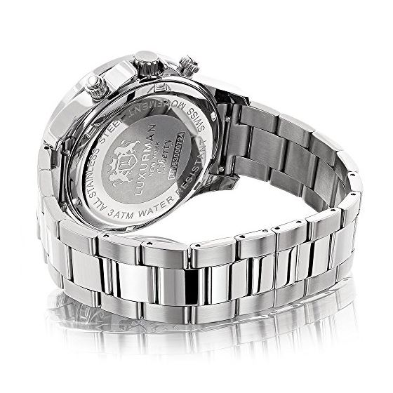Liberty Mens Real Diamond Watch 2ct by Luxurman White Gold Plated Steel Band 2