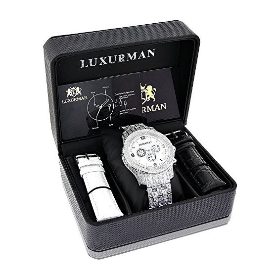 Mens Raptor Iced Out Real Diamond Watch 1.25ct White MOP Bezel by Luxurman 4