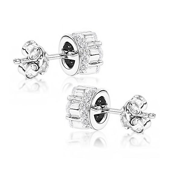 Sterling Silver Rhodium Plated Round Cubic Zirconia Cluster CZ Stud Earrings 2