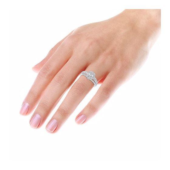 Ladies 14K Gold Affodbale Halo Baguette Diamond-4