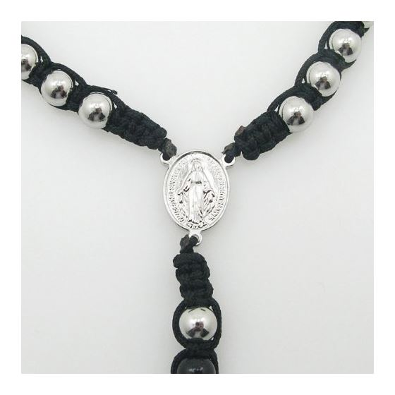 """Stainless Steel Rosary Necklace with Cross R134 ball 8 mm"
