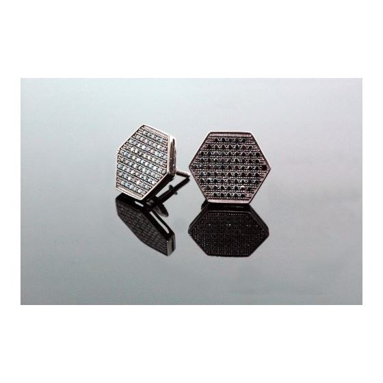 .925 Sterling Silver Black Hexagon Black Onyx Crystal Micro Pave Unisex Mens Stud Earrings 13mm 2