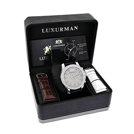 Mens Diamond Watch 0.25ct by Luxurman Black Genuine Leather Strap Yellow Face 4