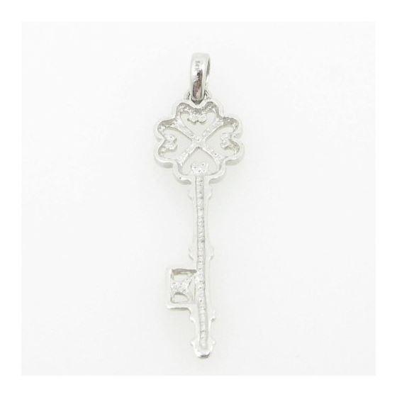 womens bp105 fancy key 14K white gold good luck charm pendant 4