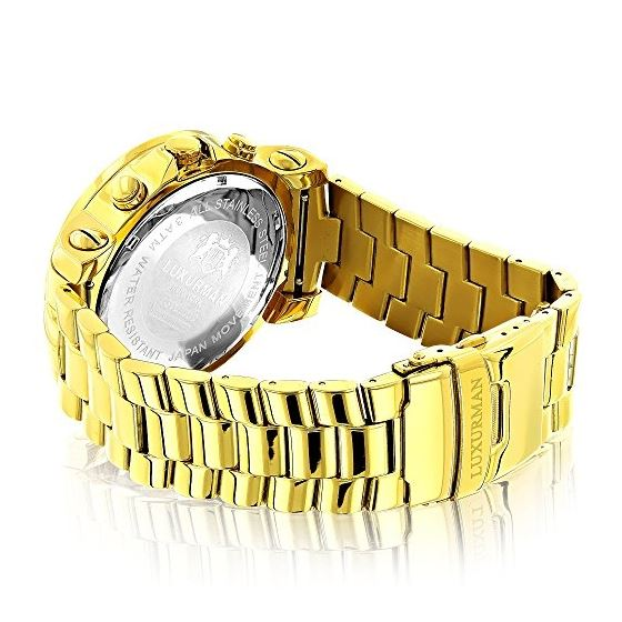 Large Diamond Bezel Watch For Men Yellow Gold Pl-2
