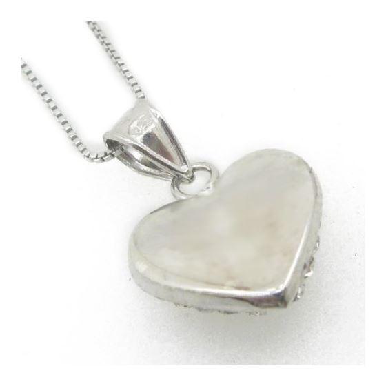 """Ladies .925 Italian Sterling Silver Black Stone Heart Pendant Length - 9.5in (Length- 20mm"