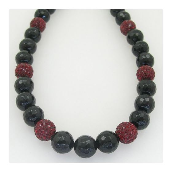 Mens beaded rosary chain crystal gemstone bracelet ball pave necklace dark red and black macrame ros