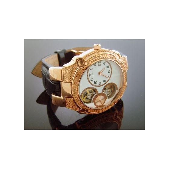 45 Mm Round 20 Diamonds Automatic Rose Gold Watc-2