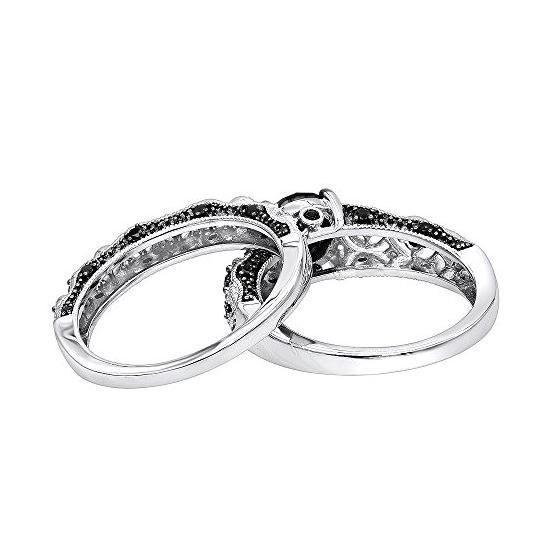 Black Diamond Sterling Silver Antique Engagement-2