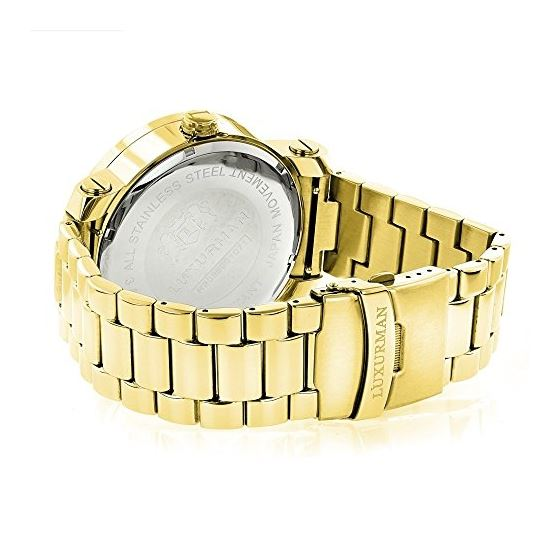 Unique Large Mens Real Diamond Watch 18k Yellow Gold Plated 0.12ct by Luxurman 2