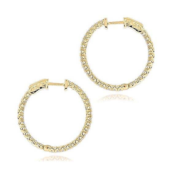 1 Inch Inside Out Natural 2 Ctw Diamond Hoop Ear-2