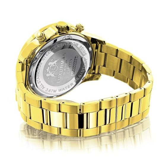 Luxurman Diamond Watches for Men 0.2ct Yellow Gold Plated Band White MOP Liberty 2