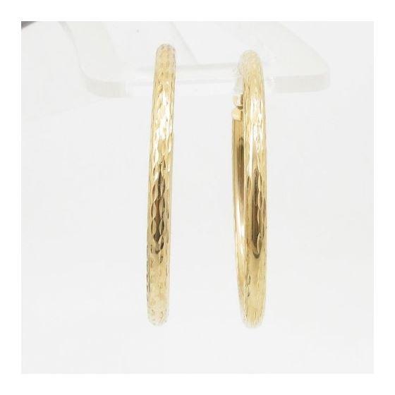 10k Yellow Gold earrings Diamond cut hoop AGBE6 2