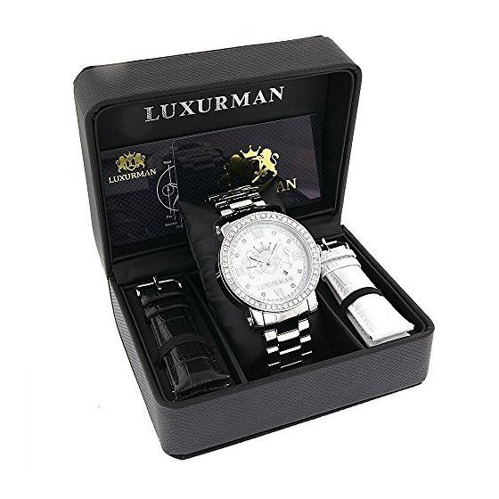 757c64cef86 Luxurman Phantom Mens Large Genuine VS Diamonds Watch 4.5ct with Leather  Straps