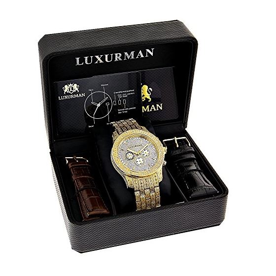 Iced Out LUXURMAN Mens Diamond Watch 1.25Ct Yell-4