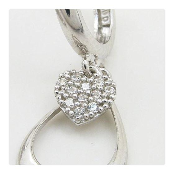 Womens Heart and teardrop chandelier earring Silver5 2