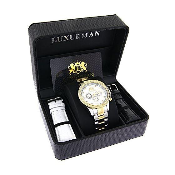 Mens Diamond Watches Two Tone 18K White Yellow G-4