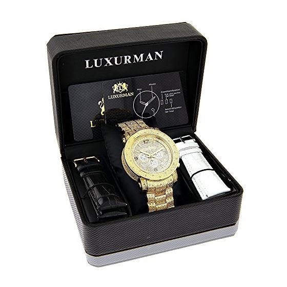 Luxurman Oversized Iced Out Mens Diamond Watch Yellow Gold 2ct Chronograph 4