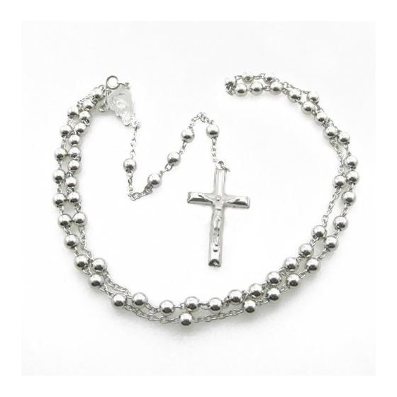 Mens .925 Italian Sterling Silver white beaded rosary Length - 24 inches Width - 5mm 2