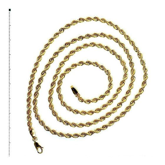 """14K SOLID Yellow Gold ROPE Chain Necklace 3.0MM Wide Sizes: 18"""""