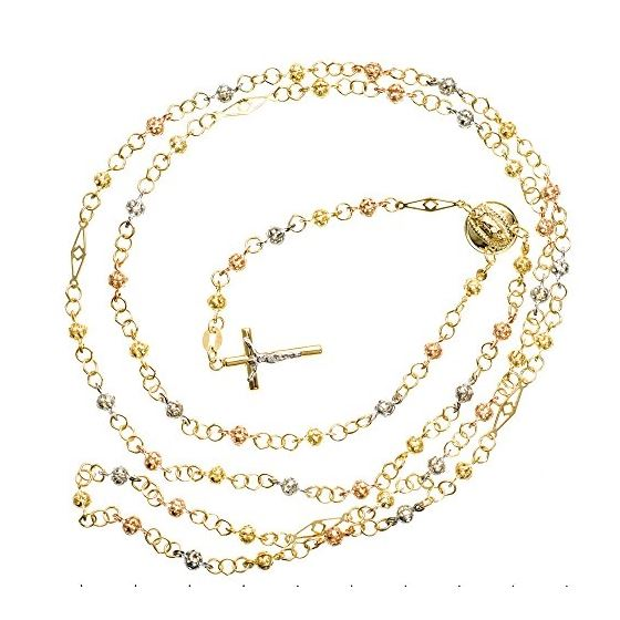 14K 3 TONE Gold HOLLOW ROSARY Chain - 30 Inches Long 3.6MM Wide 2