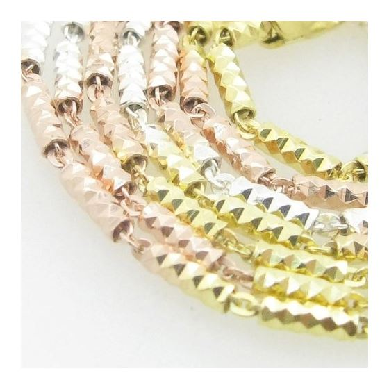 Ladies .925 Italian Sterling Silver Tri Color Round Fancy Link Chain Length - 18 inches Width - 1.5m
